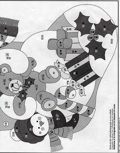 Como hacer Manualidades para Navidad: Patron bota de Navidad Muñeco de nieve con osito y pinguino
