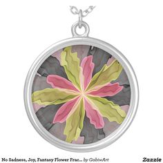 No Sadness, Joy, Fantasy Flower Fractal Art Round Pendant Necklace