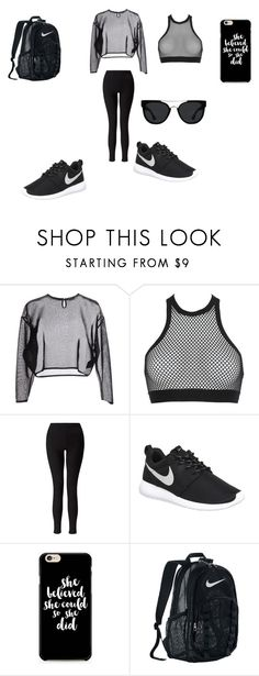 """Hip-hop dance class outfit #2!!"" by dancerlove7 ❤ liked on Polyvore featuring Yves Saint Laurent, Dsquared2, Miss Selfridge, NIKE and Quay"