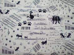 Kawaii Japanese Fabric  Cute Cats Music  Fat Quarter by KawaiiMeow, $7.00