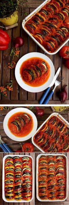 Ratatouille - eggplant, healthy, pepper red, pepper yellow, recipes, tomato, zucchini