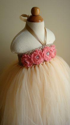 Flower girl dress champagne, coral tutu dress, roses, baby tutu dress, toddler tutu dress,newborn-24, 2t,2t,4t,5t, birthday. $74.00, via Etsy.