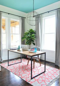 office with white walls, blue ceiling (Skydive by Benjamin Moore) (Young House Love) Home Office Design, Home Office Decor, House Design, Home Decor, Workspace Design, Office Rug, Office Inspo, Office Spaces, Office Ideas