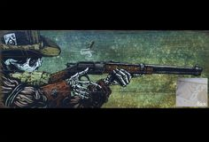 The skeleton cowboy reloads his lever action rifle and hones in on his next target. Painting ProcessThe background was painted...