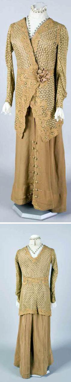 Two-piece dress or suit, no date. Cotton, linen, silk rep, taffeta, wool. Hand- and machine-sewn. Muzeum Narodowe, Krakow, Poland