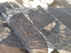 Grey lace Alencon Lace Trimming by ChantillyDentelle on Etsy, $6.00