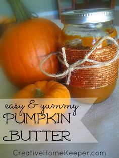 Creamy, smooth, sweet, easy and yummy- this pumpkin butter fits the bill! Topped with some favorite chopped nuts, this is the perfect addition to toast or other fall treat. | CreativeHomeKeeper.com