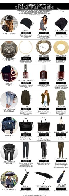 13 FALL/WINTER MUST HAVES: PART TWO | TheChicItalian | Second part with items to survive the next season