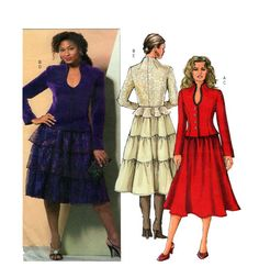 Butterick 4868 Button Front Standing Collar Fitted Blazer with Peplum Option and Full Cocktail Skirt or 3 Tiered Skirt Sz 14-16-18-20 UNCUT by FindCraftyPatterns on Etsy