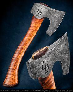 maker: Liam Hoffman • Damascus by Kyle Gahagan Axe by Liam Hoffman Curly Hawaiian koa handle • Instagram: instagram.com/hoffmanblacksmithing website: hoffmanblacksmithing.com • #calebroyerphotography #knife #knifemaking #knives #customknives #handmadeknives #knifecommunity #handmade #knifeart #knifepics #imagecalebroyer #steel #edge #sharp #cutlery