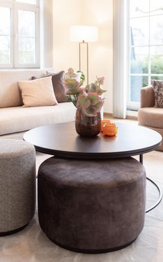 Coffee Table Pouffe, Family Room, Home And Family, Getting Cozy, Ottoman, New Homes, Living Room, Projects, House