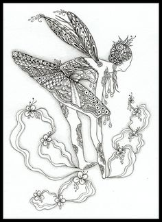 Seems I'm obsessed with dancing figures lately...this is my 3rd Fairy-Dance Zentangle. It's created with ink & graphite on 5x7 Stonehenge ...