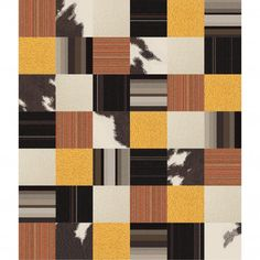 """This area rug features <a href=""""<product_id>628</product_id>"""">Mod Cow</a> in Brown, <a href=""""<product_id>658</product_id>"""">Upcycle</a> in Orange, <a href=""""<product_id>598</product_id>"""">Rake Me Over</a> in Sunny, <a href=""""<product_id>631</product_id>"""">Heaven Sent</a> in Pearl, <a href=""""<product_id>619</product_id>"""">Milliner</a> in Brown and <a href=""""<product_id>681</product_id>"""">Parallel Reality</a> in Brown. To assemble your rug, just use the FLORdots in the box with your squares."""