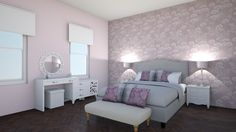 bedroom in pink and blk 2 by pinklilith. A design bedroom with products like the Penryn Footstool, Darwen Natcoal, Gelvin Dresser with Mirror, Molto Throw Pillow and a Aurora Night Stand Lacquer Paint, Dresser With Mirror, Night Stand, Design Bedroom, Aurora, Throw Pillows, Pink, Furniture, Products
