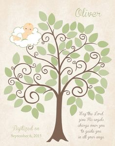 BAPTISM Guest Book 11x14 Sign-In Tree by KreationsbyMarilyn