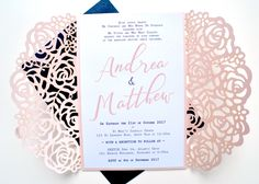 Blush laser cut wedding invitation, Pink and Navy wedding invitation, Laser Cut wedding invitation, Navy wedding laser cut invitation by SLAYandMAKER on Etsy https://www.etsy.com/uk/listing/520143046/blush-laser-cut-wedding-invitation-pink