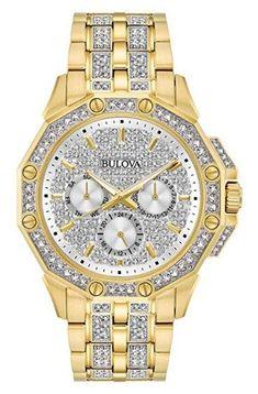 e36e68ddb2a Bulova Crystal Collection 98C126 Men s Swarovski Crystal-Studded Gold-Tone  Watch Bulova Watches
