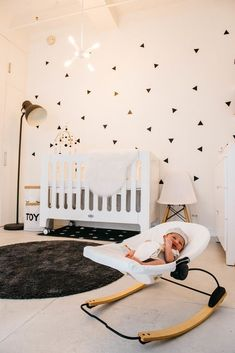 Black & white nursery ideas featuring Bloom's Coco Go bouncer. Black Nursery Furniture, Modern Baby Furniture, Girl Nursery, Nursery Ideas, Black White Nursery, Black And White Wallpaper, Nursery Wallpaper, Nursery Neutral, Baby Room Decor