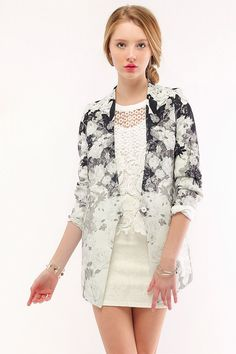 storets exclusive<br />This collarless, single-button blazer features a gorgeous graphic floral print and pockets on both sides<br />Made in Korea<br />Not stretchy<br />Dry Clean Only<br /> [$178.00]