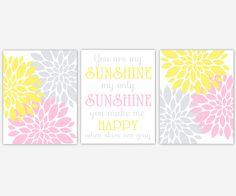 Baby Girls Canvas Nursery Wall Art Pink Yellow Gray Grey You Are My Sunshine Flower Burst Dahlia Mums Modern Floral Canvas Prints Baby Nursery Decor