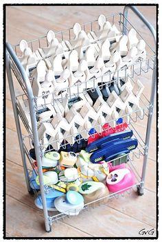 Craft punches storage idea in wire drawer trolley. Scrapbook Storage, Scrapbook Organization, Craft Organization, Craft Room Storage, Storage Boxes, Craft Rooms, Paper Punch Storage, Storage Ideas, Space Crafts