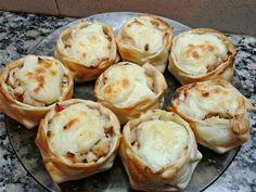 canastillas de pollo en salsa blanca