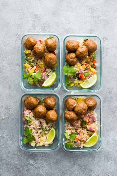 Honey Chipotle Meatball Meal Prep Bowls make the tastiest prep ahead lunches! Healthy baked turkey meatballs are tossed in a smoky sweet and savory honey chipotle glaze, and served over cilantro lime cauliflower rice.