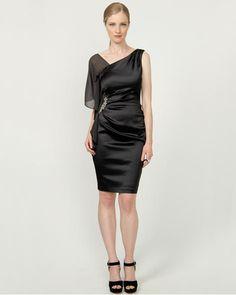 Satin Asymmetrical Cocktail Dress