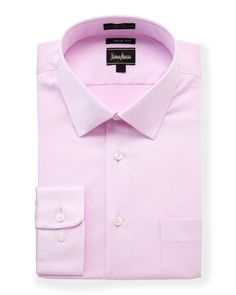 Neiman Marcus Trim-Fit Stretch Dress Shirt, Pink, Men's, Size: 16 36/37