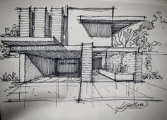 "705 Me gusta, 3 comentarios - @gallardo.arquitectura en Instagram: ""Sketch of the Day G/A #sketchoftheday . . .  If you need an Architectural Project, please contact…"""