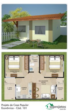 Project of Popular Economic House - Cod. 101 This popular house has a simple execution plan allowing economy and speed Simple House Plans, Bungalow House Plans, Dream House Plans, House Floor Plans, House Layout Plans, House Layouts, 2 Bedroom House Plans, House Blueprints, Small House Design
