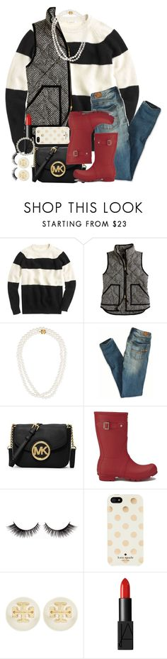 """Kind of in a set block... who can I raid"" by thefashionbyem ❤ liked on Polyvore featuring J.Crew, Tiffany & Co., American Eagle Outfitters, MICHAEL Michael Kors, Hunter, Kate Spade, Tory Burch, NARS Cosmetics and Belle de Mer"