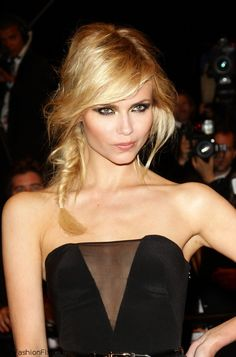Beautiful Natasha Poly with fishtail braid hairstyle at the 2012 Cannes Film Festival.