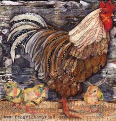 Mama hen and her chicks mixed media collage and paint chicken www.fromvictoryroad.com