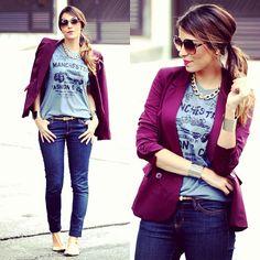 Blazer colorido + camisa cinza