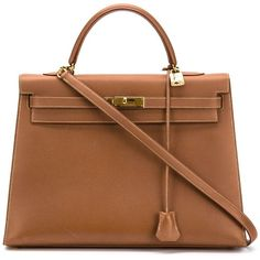 Hermès Vintage 'Kelly' bag 35cm ($15,890) ❤ liked on Polyvore featuring bags, handbags, brown, brown leather purse, zipper purse, hermes handbags, real leather handbags and hermes purse