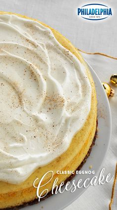 Forget everything you know about cheesecake and your favorite holiday beverage. Our Classic Eggnog Cheesecake is the perfect dessert after any holiday dinner. An oatmeal cookie rests below a rich and velvety top filled with PHILADELPHIA Cream Cheese and homemade whipped cream tops it off, so why not have another slice?