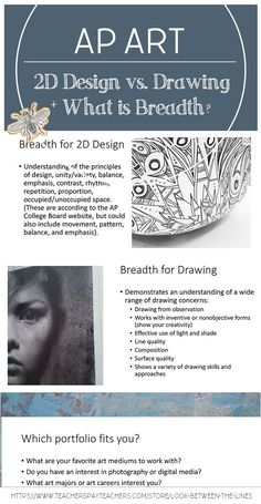 Cover the basics in you AP Studio Art class: 2D Design vs. the Drawing portfolio, what the breadth section is, and how your students can make sure they are meeting the expectations for the portfolio they choose. #apart #apstudioart #arteducation #breadth