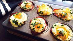 Připravte si luxusní snídani podle videoreceptu! Ideální způsob, jak nevšedně využít muffinovou formu :) Sushi, Healthy Eating, Eggs, Breakfast, Ethnic Recipes, Eating Healthy, Morning Coffee, Healthy Nutrition, Clean Foods