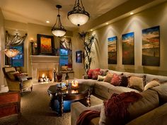 colorful accents pop in neutral living room
