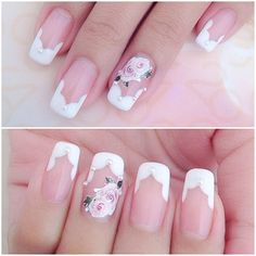 White french manicure with an interesting shape and flower nail art - perfect for the bride ♡