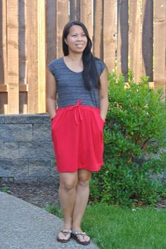 Catalina Dress sewn with colorblocking - pattern by Blank Slate Patterns