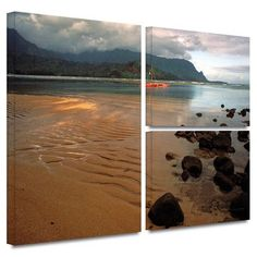 ArtWall 'Hanalei Bay at Dawn' by Kathy Yates Flag 3 Piece Photographic Print on Wrapped Canvas Set Size: