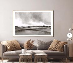 Large Farm Landscape Art.  Minimal, black and white tones with a hint of sepia. Dan Hobday Art. Large Wall Art, Large Art, Landscape Art, Landscape Paintings, Black And White Wall Art, Artwork Online, Printable Art, New Art, Farmhouse Decor