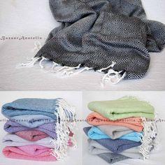 Peshtemal %100 Cotton Thick Bath Beach Spa Turkish Towel Diamond Fouta Yoga Bdmd #Handmade