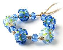 Lampwork Beads, Handmade Lampwork Glass Beads, Blue Beads, Flower Beads, Glass Lampwork Bead Set, Murano Glass Beads, Floral Glass Beads