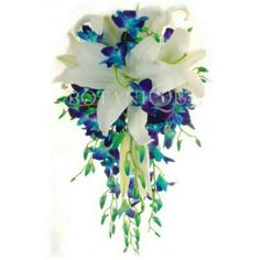 Blue orchids and white lillys