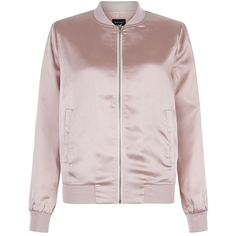 Teens Shell Pink Sateen Bomber Jacket ($36) ❤ liked on Polyvore featuring outerwear, jackets, flight jacket, long sleeve jacket, zip front jacket, shell jacket and pink bomber jacket