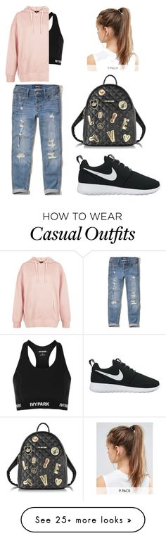 """Casual sporty"" by lici-dc on Polyvore featuring Hollister Co., NIKE, Topshop, New Look and Love Moschino"
