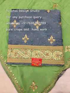Get this beautifull suit, gotta patti worked four sided embroidered border over…